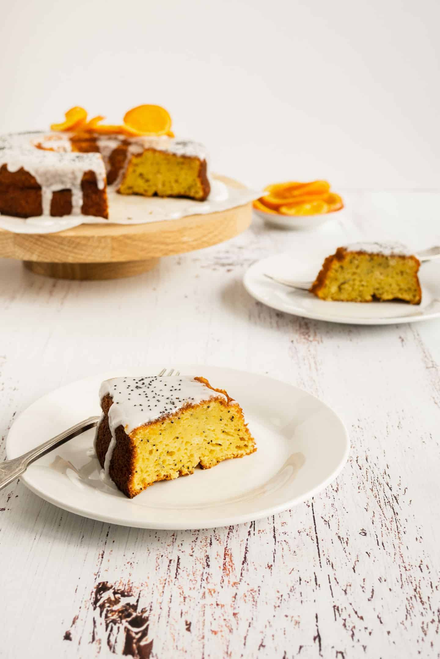 Orange and Poppy Seeds Cake in two plates