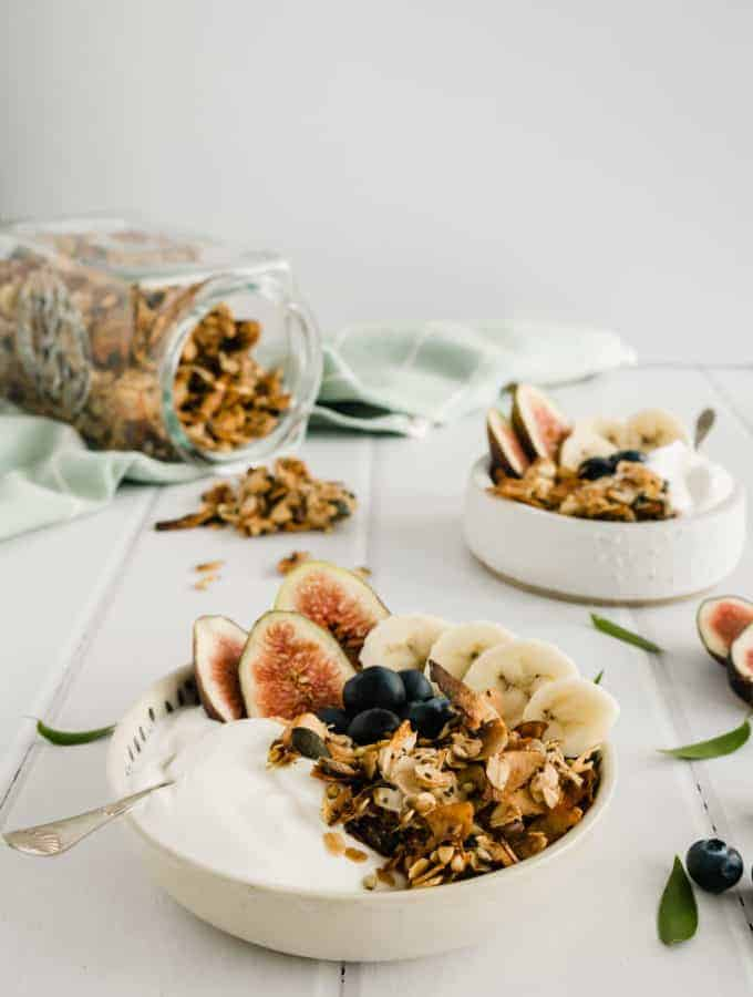 Homemade Granola Breakfast with Greek Yogurt and Fruit