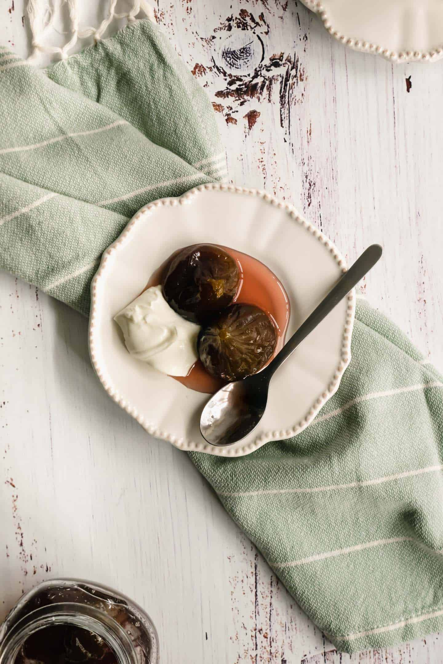 Figs in syrup with whipped cream from above