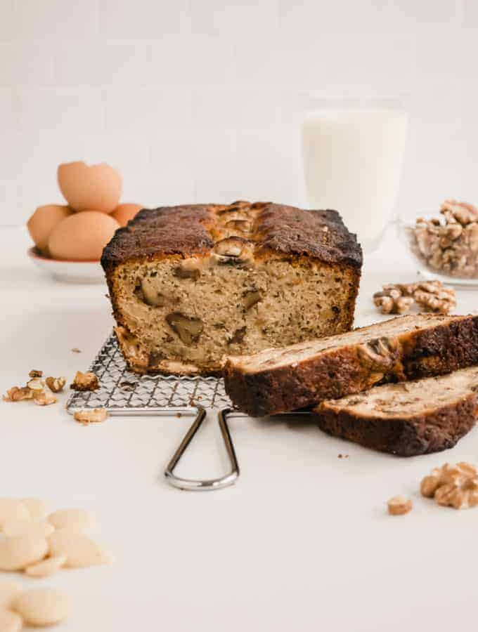 This is the traditional banana bread recipe, but enhanced with sweet white chocolate chips and crunchy walnuts. Moist, easy and quick to put together