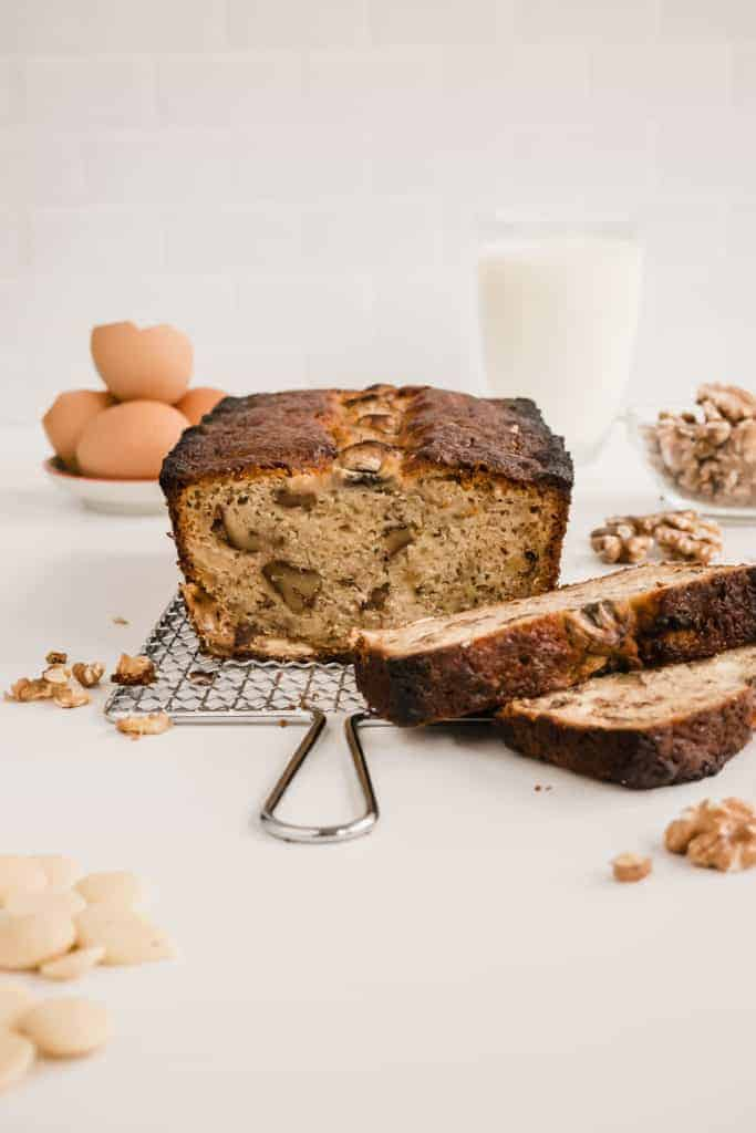 This is the traditional banana bread recipe but enhanced with sweet white chocolate chips and crunchy walnuts. Moist, easy and quick to put together.