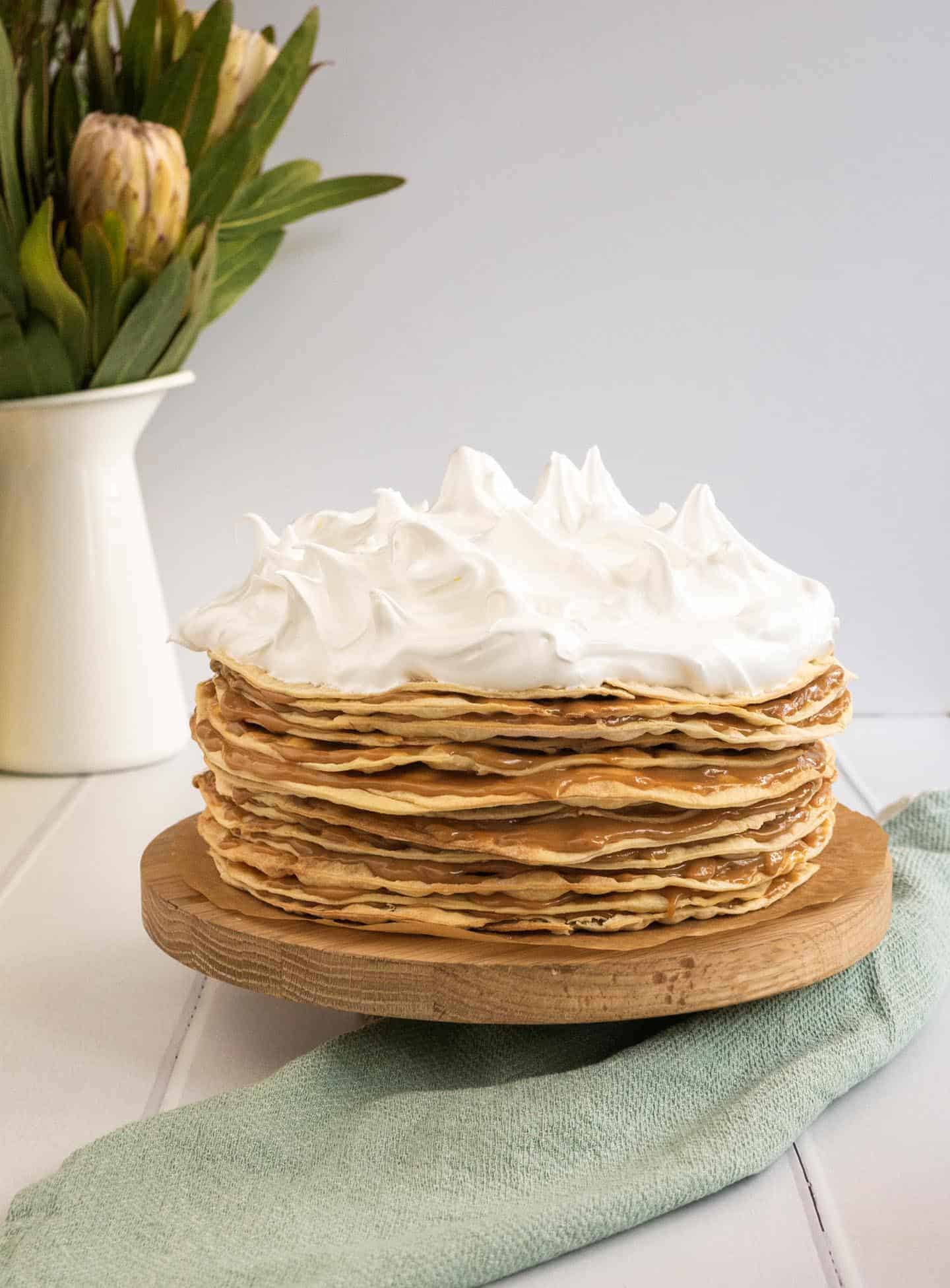 Whole Rogel cake with dulce de leche and meringue